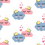 Seamless pattern with smiling sleeping clouds in love on white background. Stock Photo