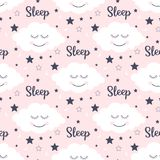 Seamless pattern with smiling sleeping clouds and stars. Vector illustration Stock Illustration