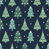 Seamless pattern with smiling sleeping xmas trees and snowflakes. Happy new year background. Child drawing style night winter forest. Cute winter design for stock illustration