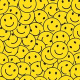 Seamless pattern with smiling smileys. Vector illustration stock illustration