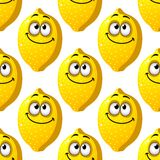 Seamless pattern of smiling yellow lemons Stock Image