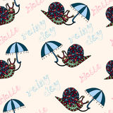 Seamless pattern with snail. Royalty Free Stock Photo
