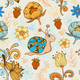 Seamless pattern with snail Stock Photography