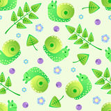Seamless pattern with snails, leaves, flowers and berries. Stock Photography