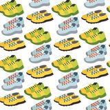 Seamless pattern with sneaker shoe color flat clothing background vector illustration. Royalty Free Stock Images