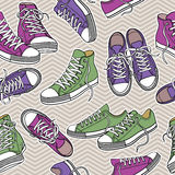 Seamless  pattern with sneakers Royalty Free Stock Photography