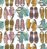 Seamless   pattern with sneakers Royalty Free Stock Image