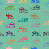 Seamless pattern with sneakers shoes. Vector backgroun royalty free illustration