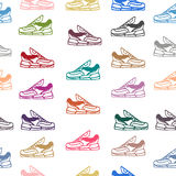 Seamless pattern with sneakers shoes. Vector backgroun vector illustration