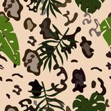 Seamless pattern of snow leopard skins and tropical leaves. Vector template stock illustration