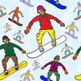 Seamless pattern of Snowboarder Royalty Free Stock Image