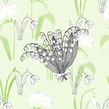Seamless pattern with snowdrops Royalty Free Stock Photography