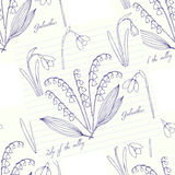 Seamless pattern with snowdrops Stock Photo