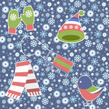 Seamless Pattern - Snowflake, Vector, Snow, Backgrounds, Snowing. Stock Photo