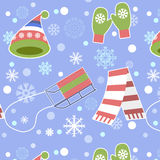 Seamless Pattern - Snowflake, Vector, Snow, Backgrounds, Snowing. Royalty Free Stock Photo