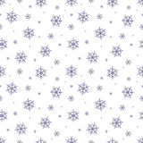 Seamless pattern with snowflake. Winter season background with snowfall. Christmas and New Year holiday print Stock Images