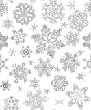 Seamless pattern with snowflakes, adult coloring Royalty Free Stock Images