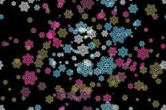 Seamless pattern of snowflakes on a black Stock Photo
