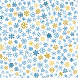 Seamless pattern of snowflakes, blue and brown on white Stock Image
