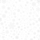 Seamless pattern with snowflakes and Christmas symbols Stock Photo