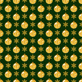 Seamless pattern with snowflakes and glittering Christmas balls. Royalty Free Stock Images