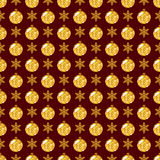 Seamless pattern with snowflakes and glittering Christmas balls. Stock Photo
