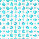 Seamless pattern with snowflakes and glittering Christmas balls. Merry Christmas and Happy New Year! Seamless pattern with snowflakes and glittering tree balls Royalty Free Stock Images