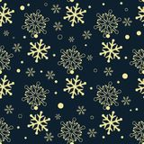 Seamless pattern of snowflakes. Golden snowflakes on dark background. royalty free illustration