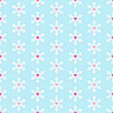 Seamless pattern with snowflakes and hearts Royalty Free Stock Photos