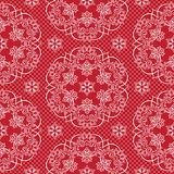 Seamless pattern snowflakes and polka dots on red background vector. Christmas lace fabric or wrapping paper design illustration Stock Photo