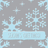 Seamless pattern with snowflakes and Season's greetings Stock Photo