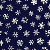 Seamless pattern of snowflakes with shadows. Christmas seamless pattern of snowflakes with shadows, white on dark blue background Stock Photos