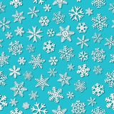 Seamless pattern of snowflakes with shadows. Christmas seamless pattern of snowflakes with shadows, white on light blue background Stock Photos