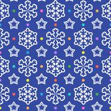 Seamless pattern from snowflakes, stars and colorful confetti. Royalty Free Stock Image