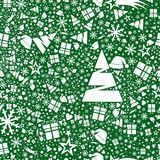 Seamless pattern in snowflakes, stars, gifts and Christmas trees. Green Christmas background on a white background Stock Photo