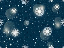 Seamless pattern with snowflakes. Winter abstract background. Bokeh effect. Vector. Illustration stock illustration