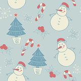 Seamless pattern with snowman. Vector seamless pattern with snowman and Christmas decorations Royalty Free Stock Images