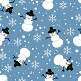 Seamless pattern. Snowman on a blue background. Snowman on a blue background. Seamless pattern vector illustration