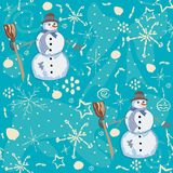 Seamless Pattern with snowman on blue background. Vector Illustration Stock Image