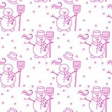 Seamless pattern with snowman, broom, hat, wind. Seamless pattern with snowman, broom, hat, wind, snow. Funny pattern on a winter theme Vector Illustration