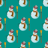 Seamless pattern with snowman Stock Image