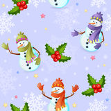 Seamless pattern with snowman Stock Photos