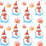 Seamless pattern of a snowman,gift and snowflake. Stock Photos