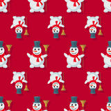 Seamless pattern snowman Royalty Free Stock Images