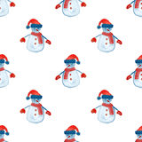Seamless pattern with snowman for winter holidays design Royalty Free Stock Images