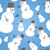 Seamless pattern with snowmans. Seamless christmas pattern with cute snowmans. Vector background Stock Photo