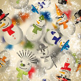 Seamless pattern with snowmen with blurred backdrop in vintage Royalty Free Stock Photography