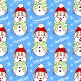 Seamless pattern with snowmen Stock Photo