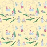 seamless pattern with snowmen with colored pencils stock illustration