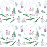 seamless pattern with snowmen with colored pencils. royalty free illustration
